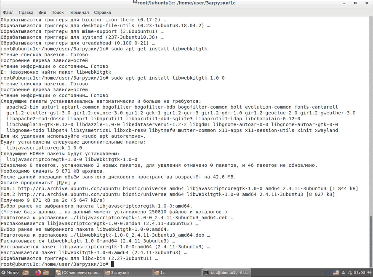 Рис.4 Установка на Ubuntu