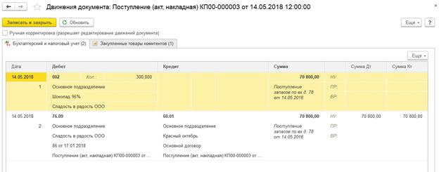 Рис.13 Документ поступления формирует долг комитента