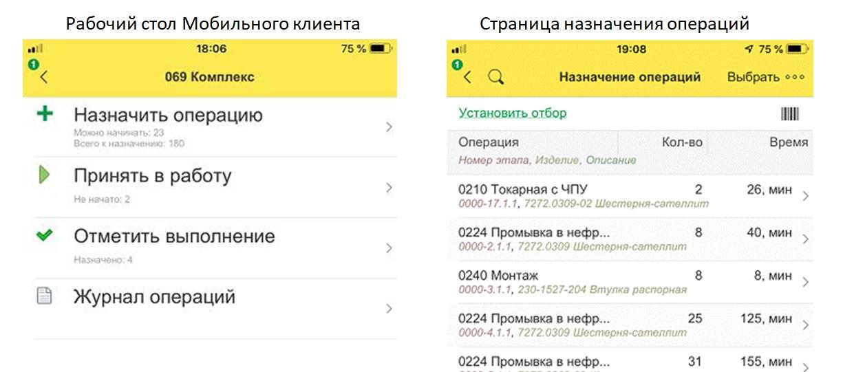 Рис.5 Мобильный клиент 1С:ERP